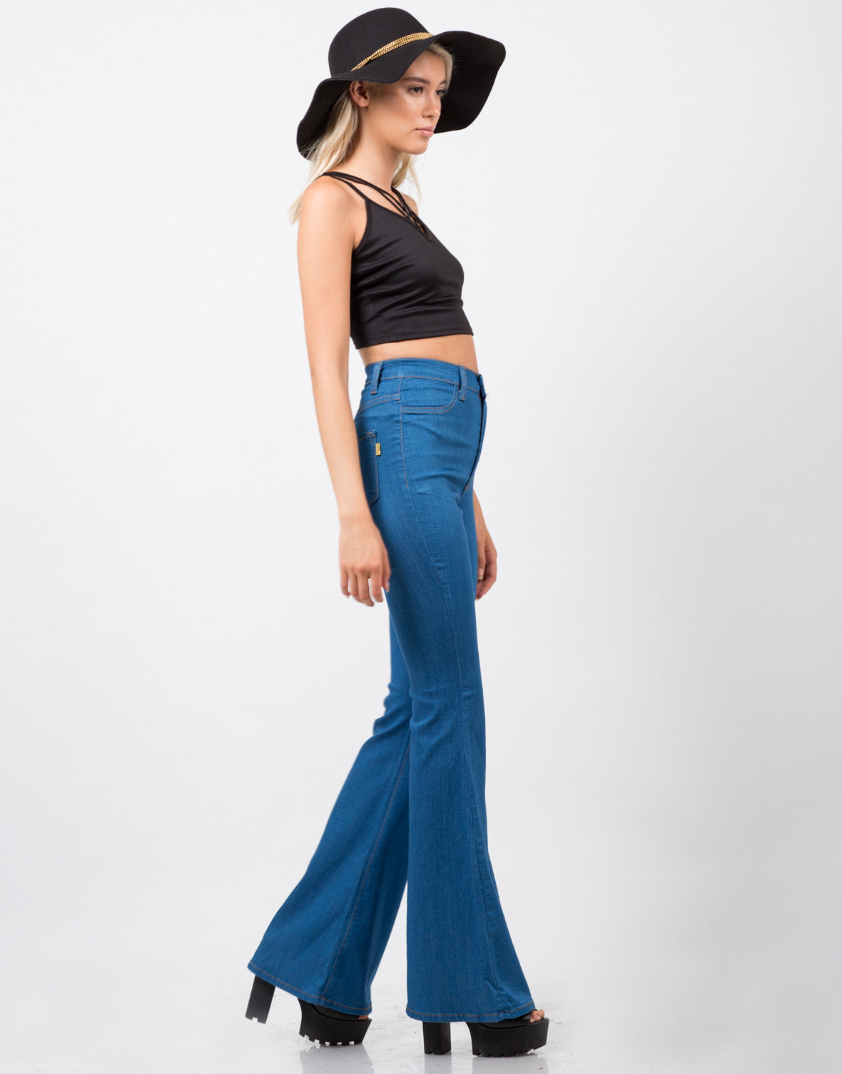 Side View of High Waisted Flare Pants