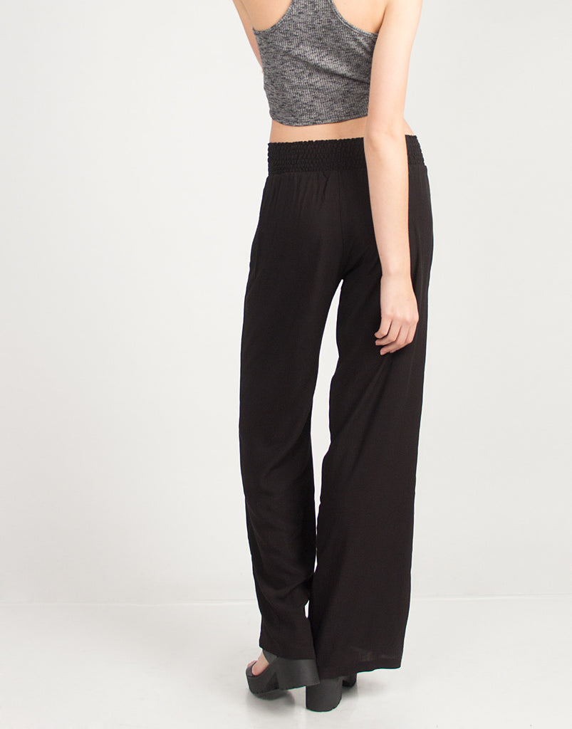 High Waisted Flare Pants - Black - 2020AVE
