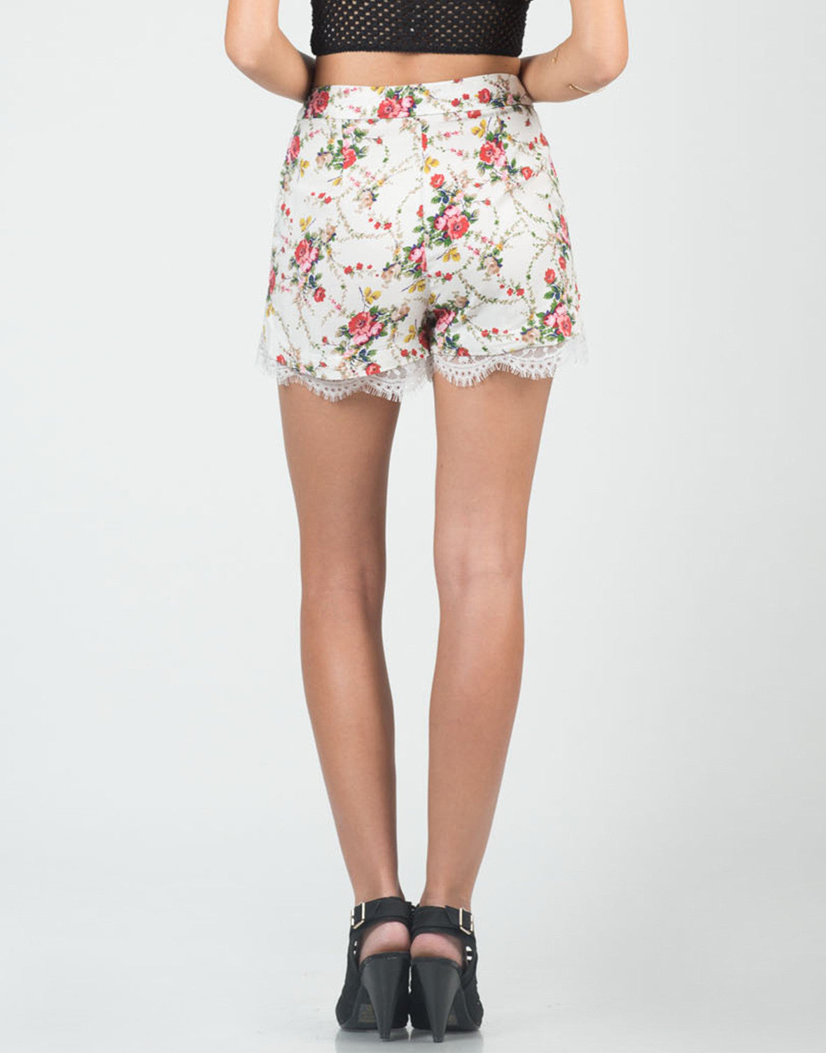 Back View of High Waisted Floral Lace Shorts
