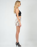 Side View of High Waisted Floral Lace Shorts