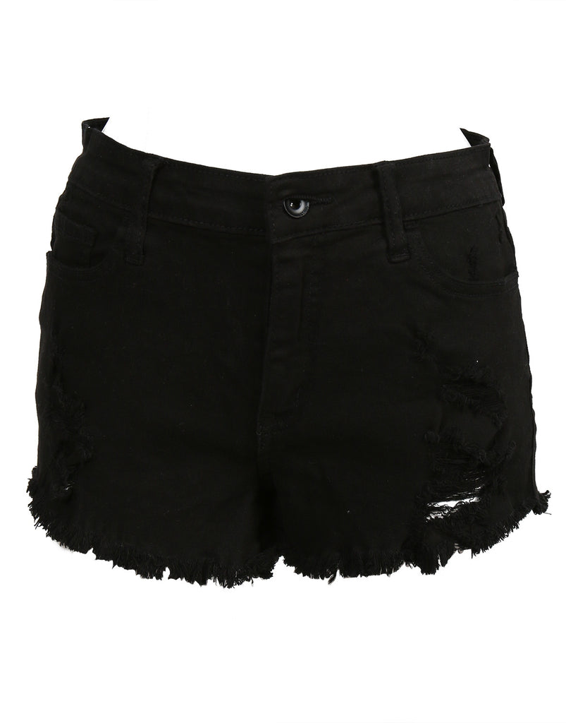 High Waisted Fray Shorts - Black - 2020AVE