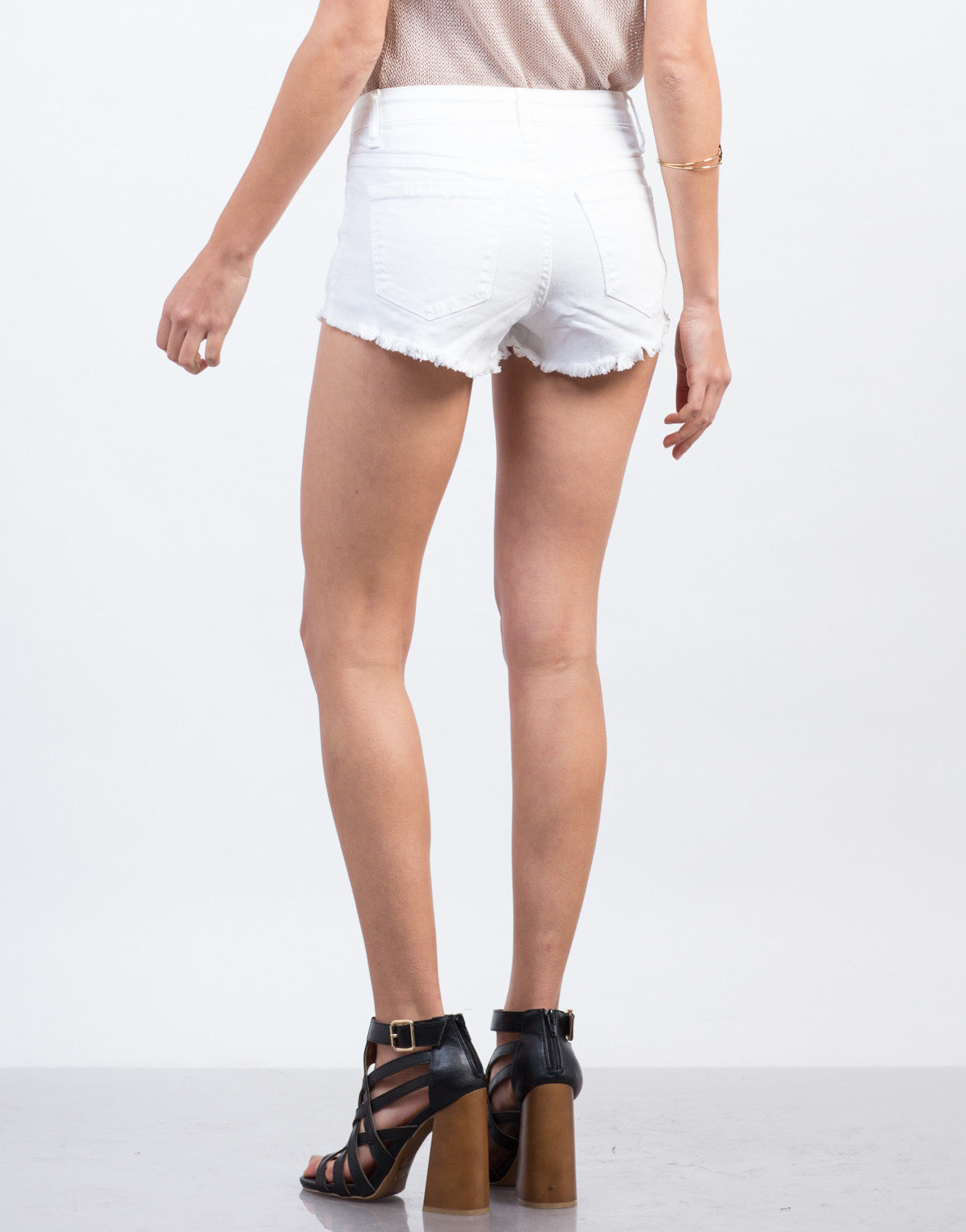 Back View of High Waisted Fray Shorts