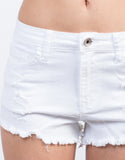 Detail of High Waisted Fray Shorts
