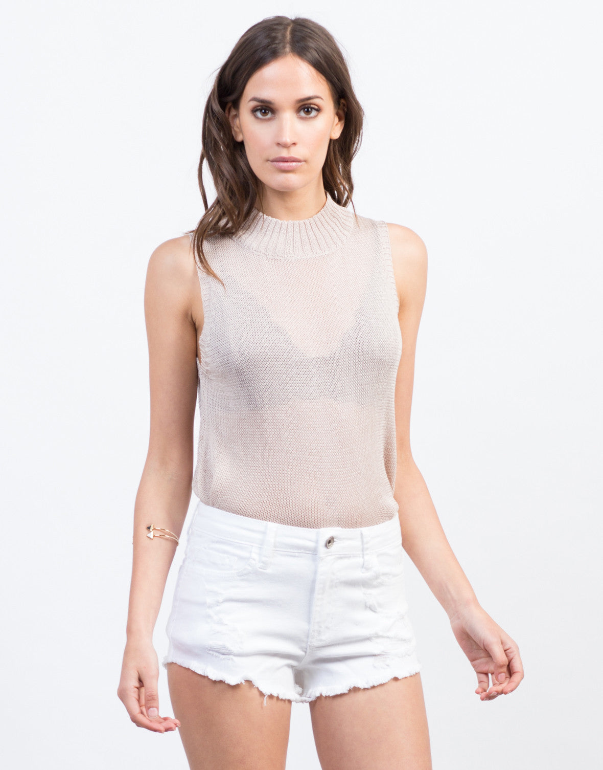 Front View of High Waisted Fray Shorts