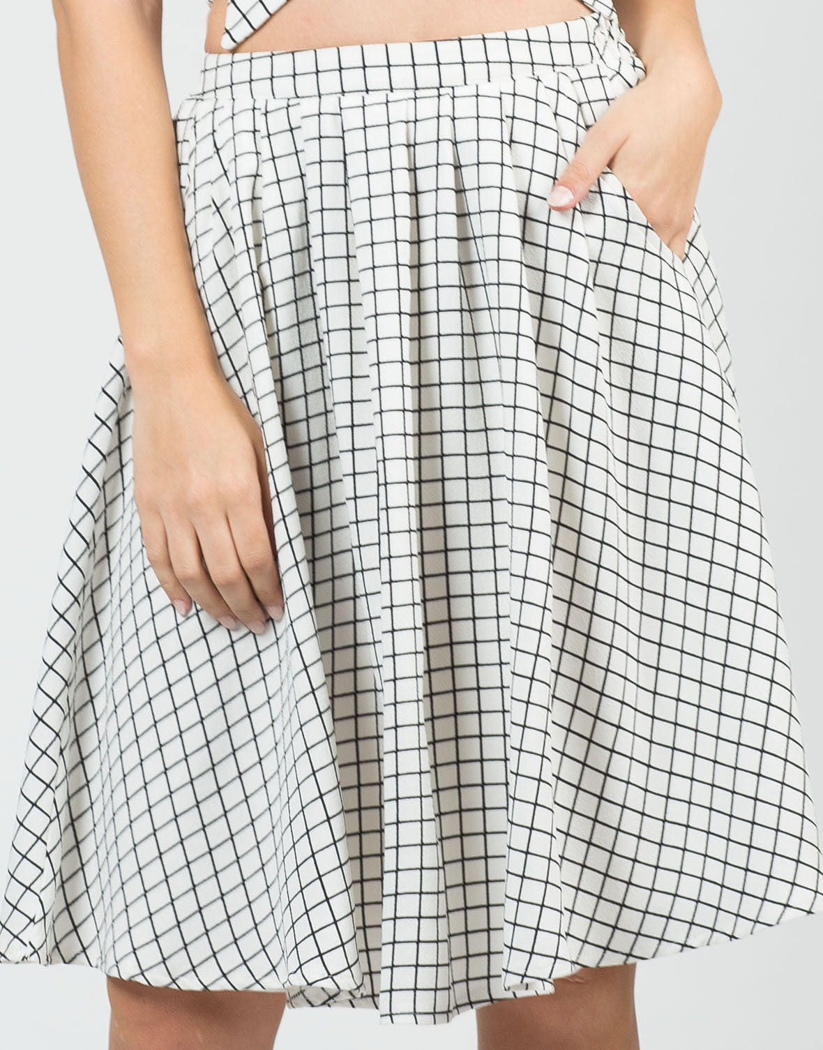 Detail of High Waisted Grid Skirt