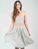 Front View of High Waisted Grid Skirt