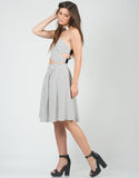Side View of High Waisted Grid Skirt