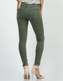 Back View of High Waisted Knee Slit Skinny Jeans