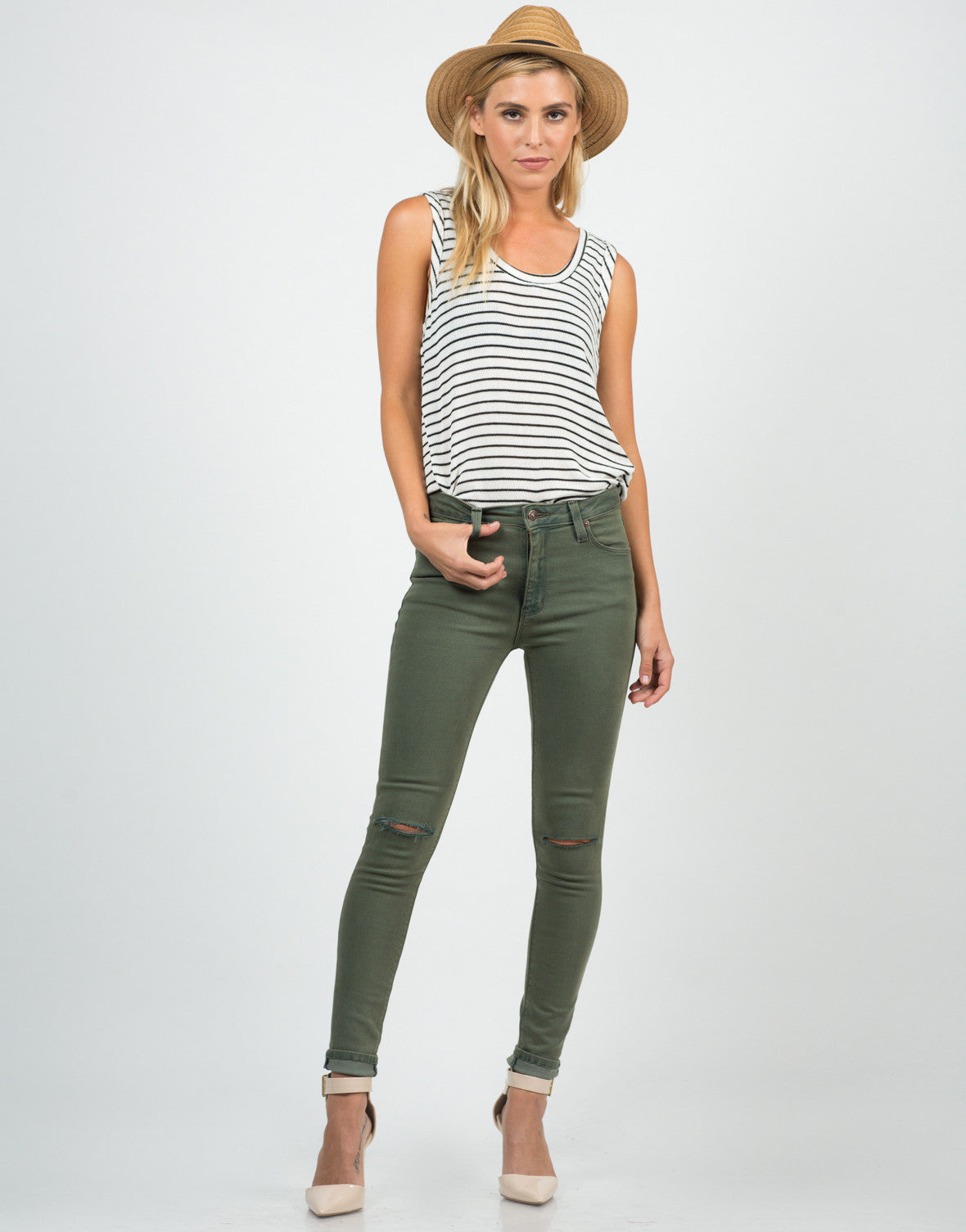 Front View of High Waisted Knee Slit Skinny Jeans