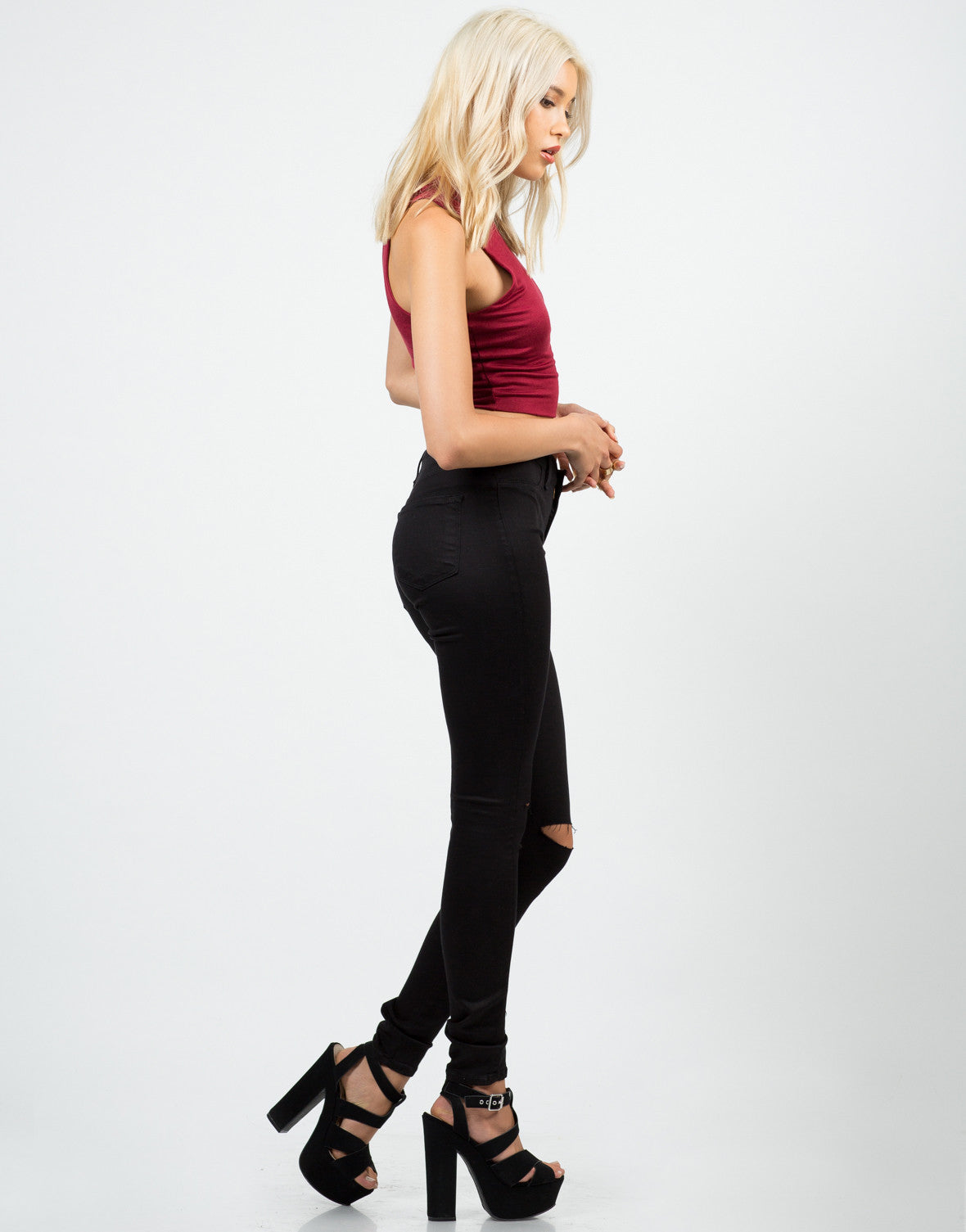 Side View of High Waisted Knee Slit Skinny Pants