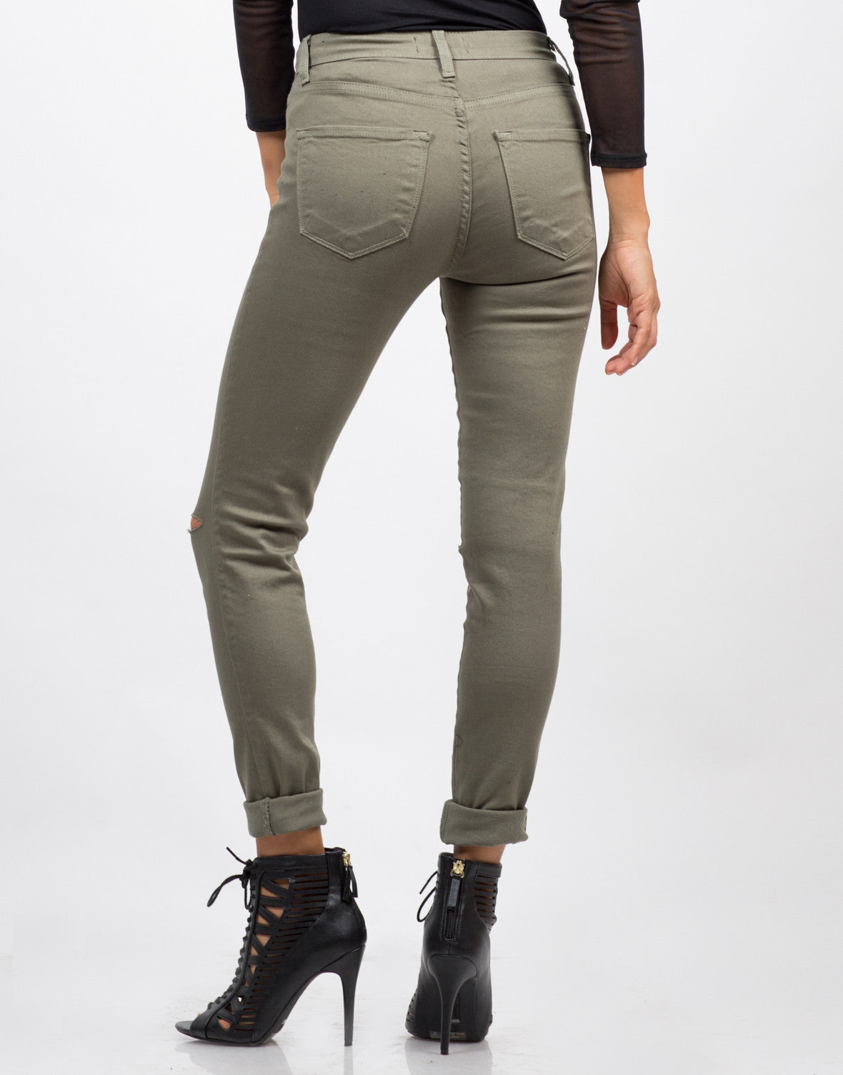 Back View of High Waisted Knee Slit Skinny Pants