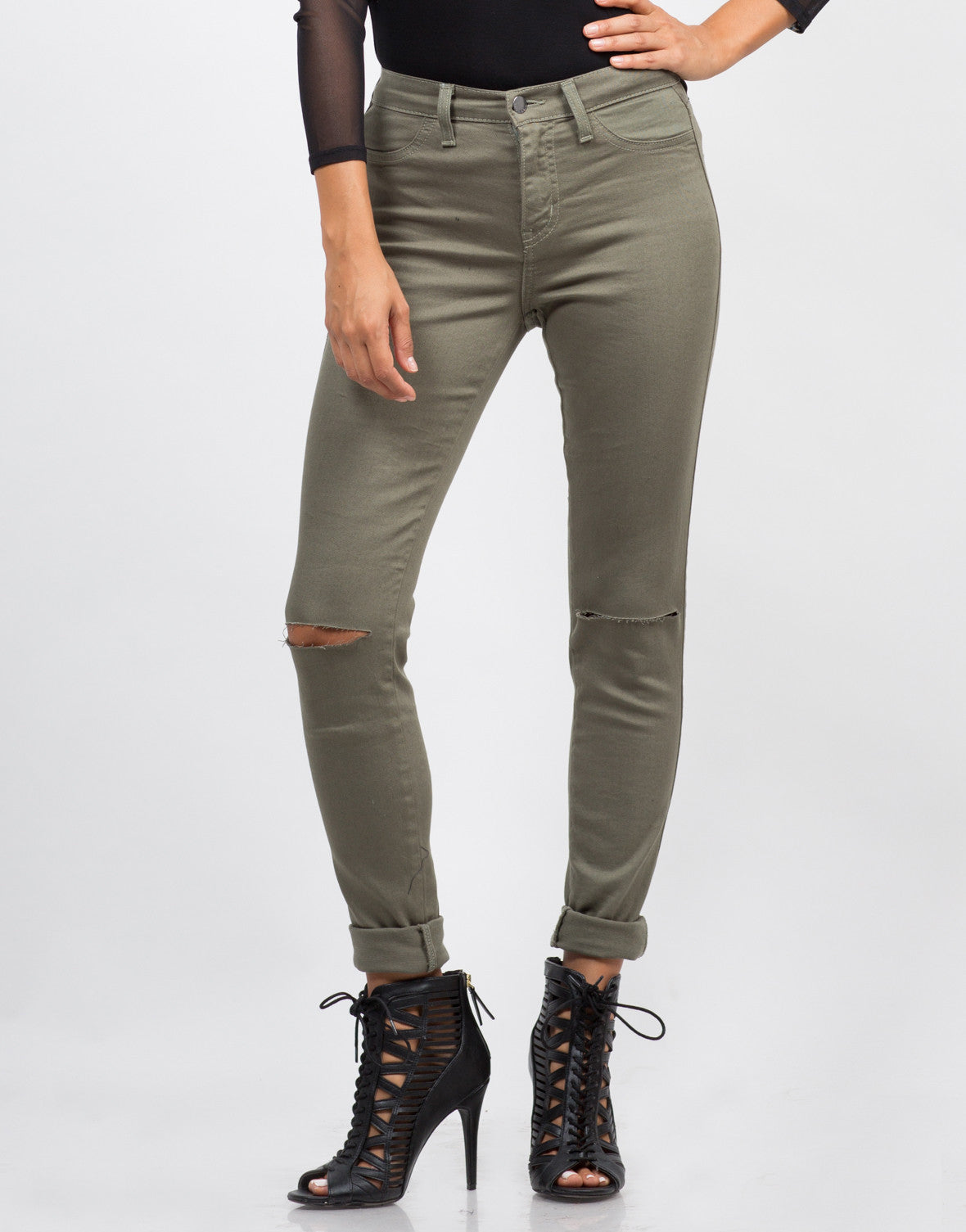 Front View of High Waisted Knee Slit Skinny Pants