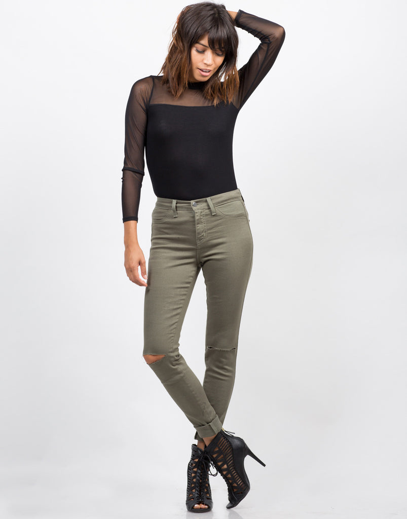 High Waisted Knee Slit Skinny Pants - 2020AVE