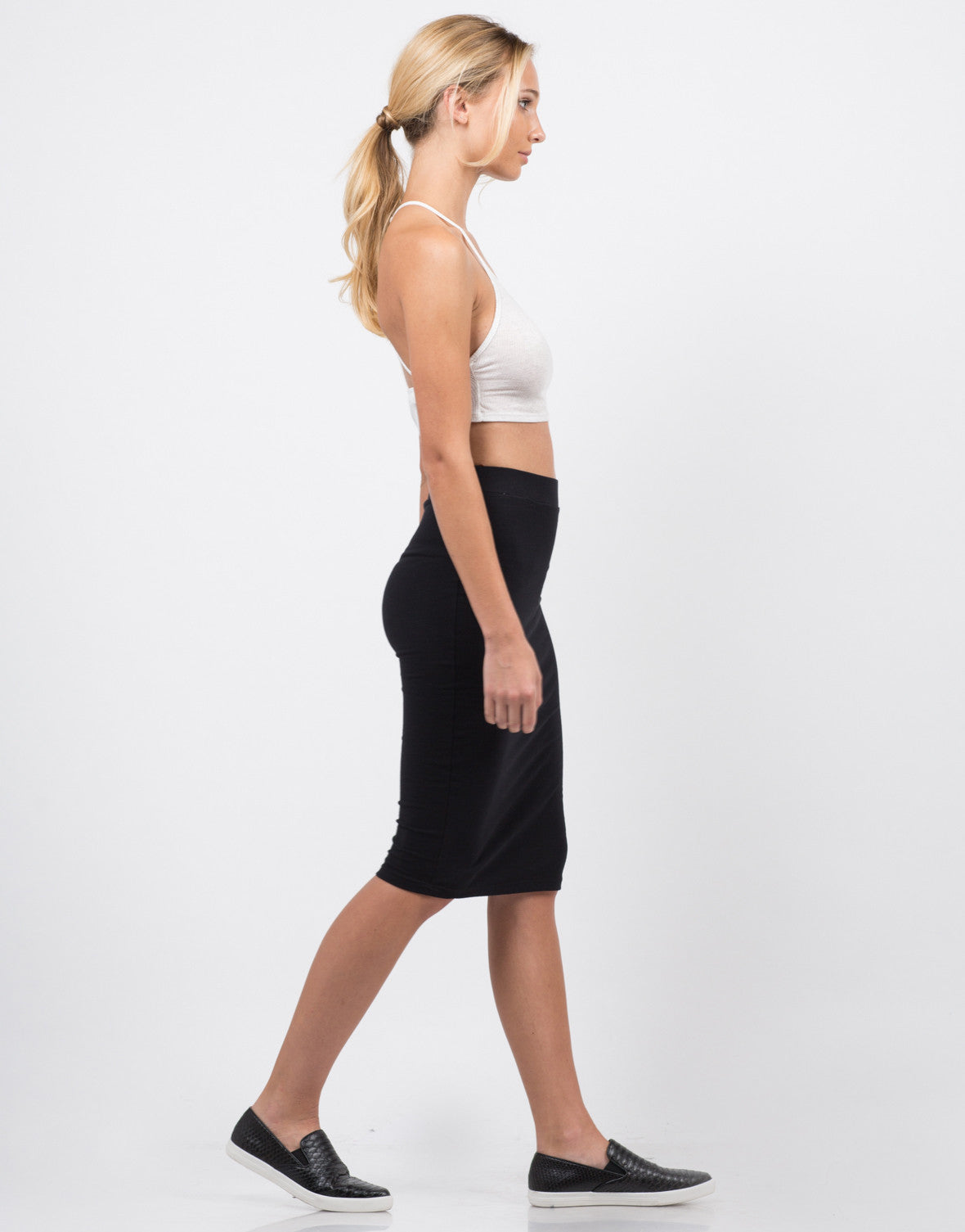 Side View of High Waisted Midi Skirt