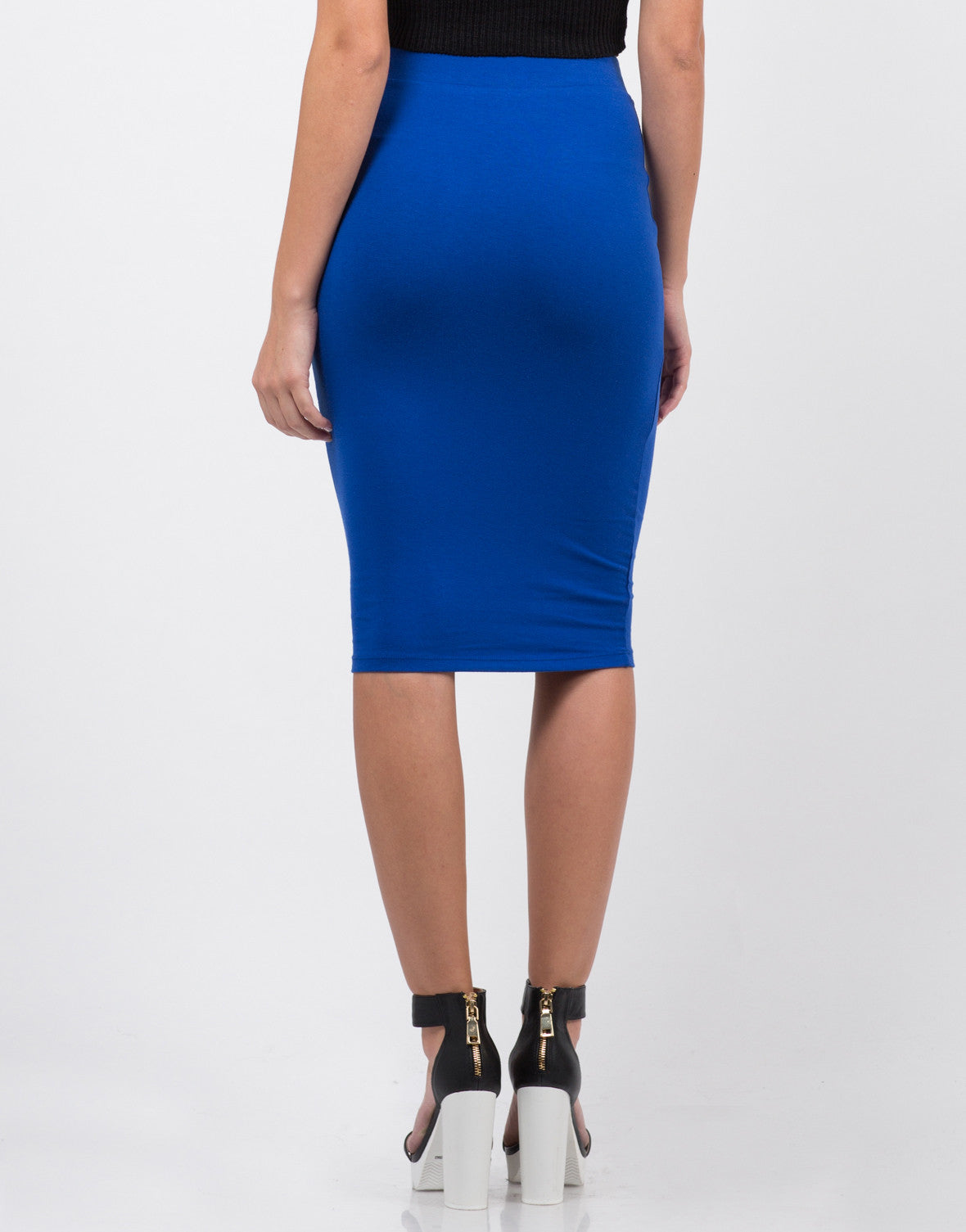 Back View of High Waisted Midi Skirt
