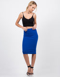 Front View of High Waisted Midi Skirt