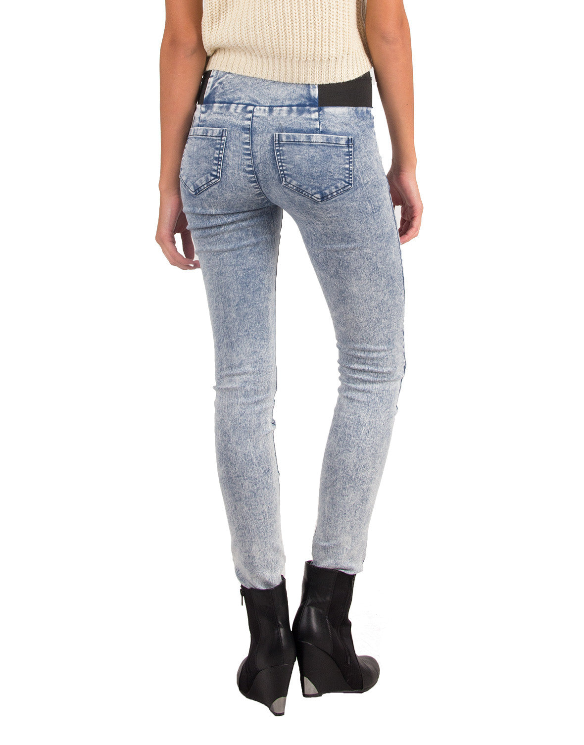 High Waisted Stretchy Denim Jeggings - Poetry 7181G2-Blue