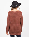 Back View of Hi-Low Knit Sweater