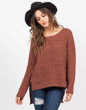 Front View of Hi-Low Knit Sweater