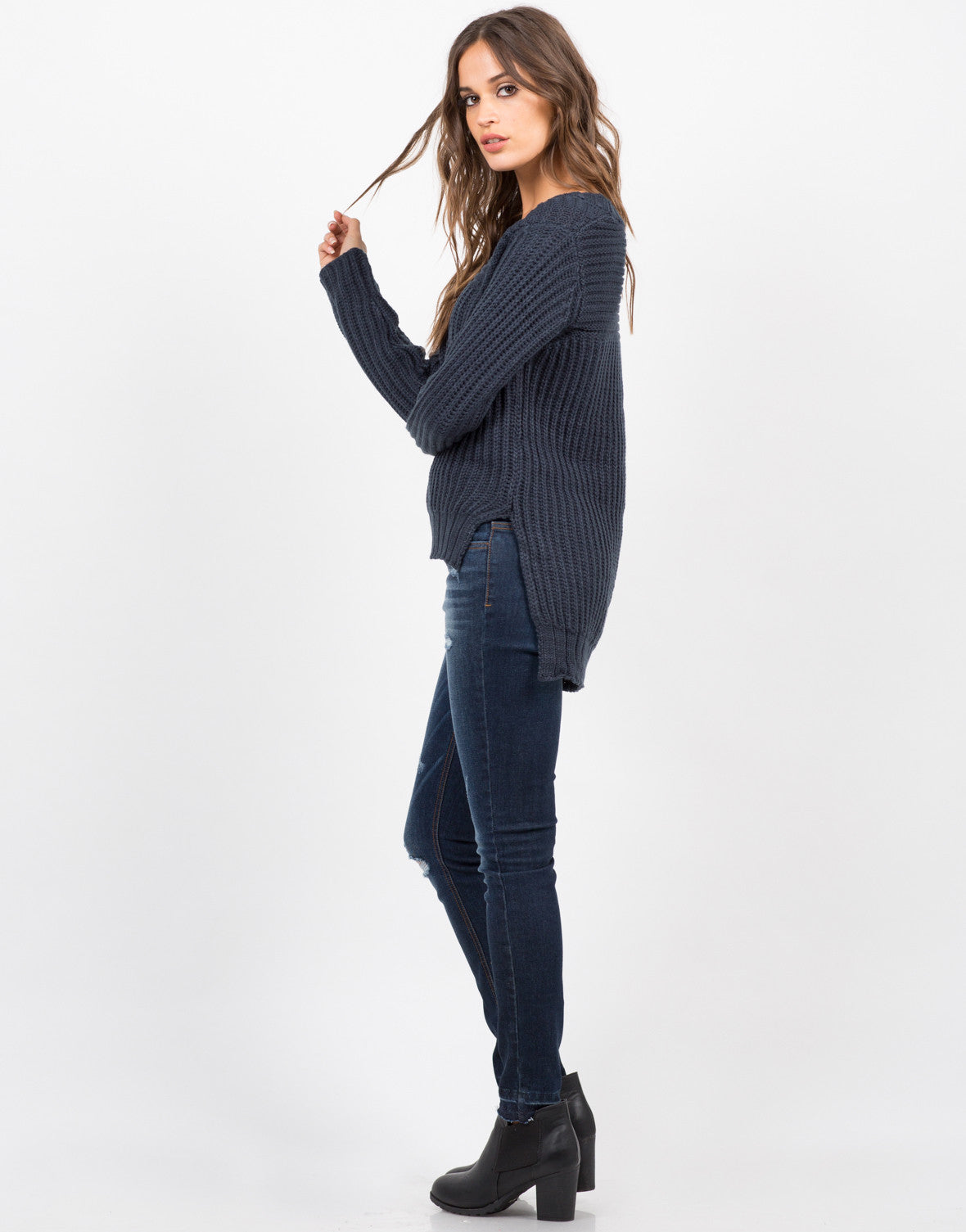 Side View of Hi-Low Knit Sweater