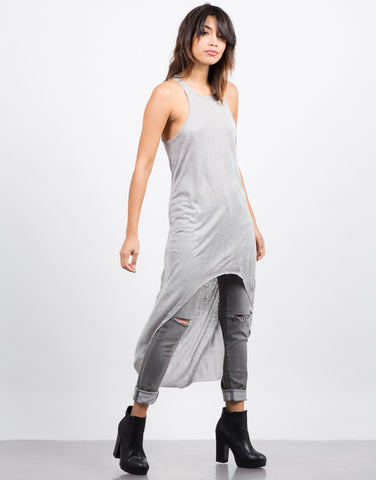 Side View of Hi-Low Racer Tank Top