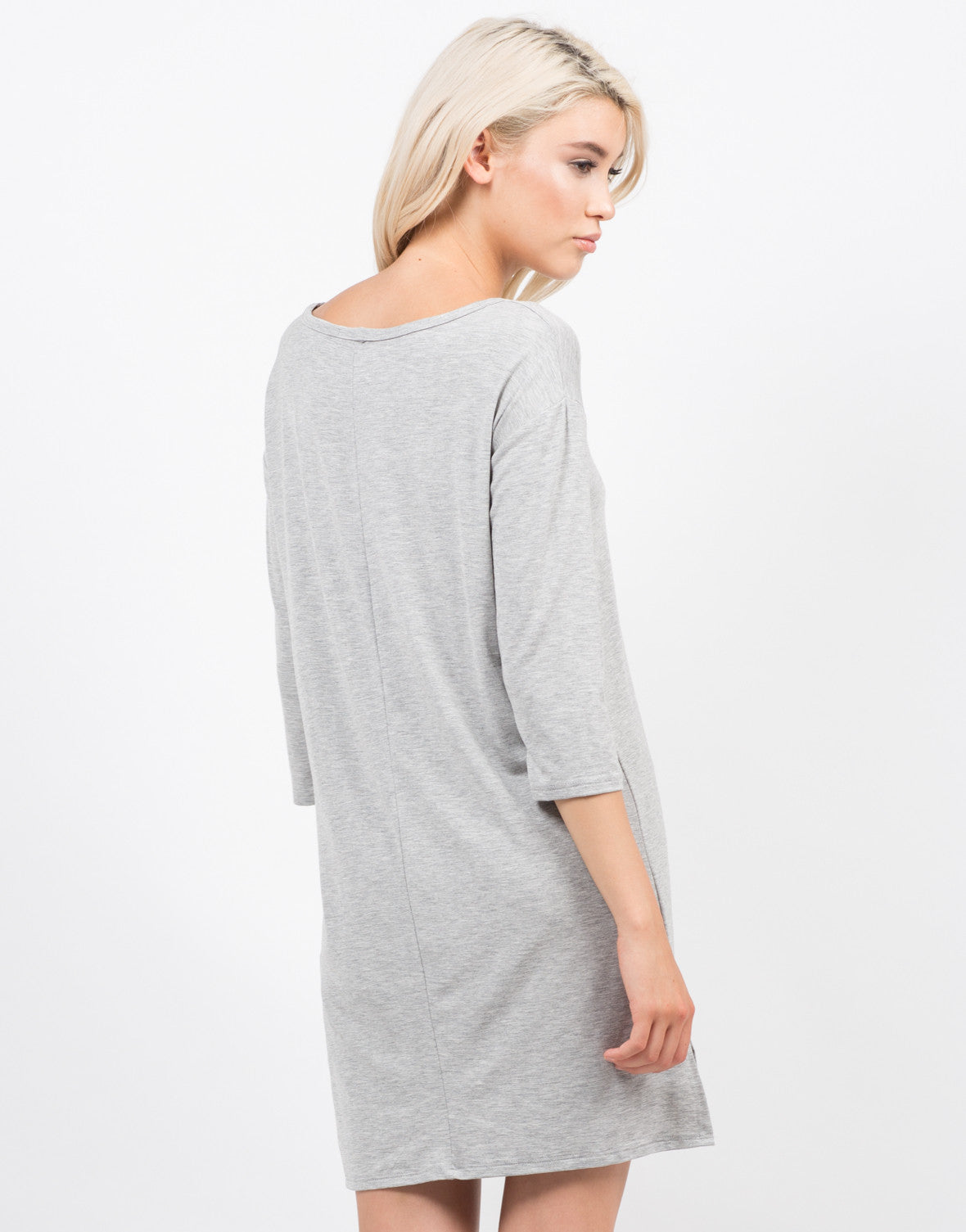 Back View of Hi Low Simple Pocket Dress