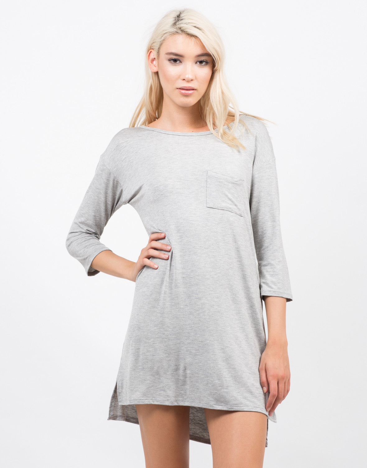 Front View of Hi Low Simple Pocket Dress