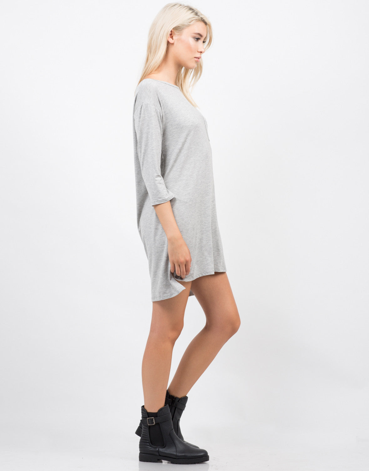 Side View of Hi Low Simple Pocket Dress