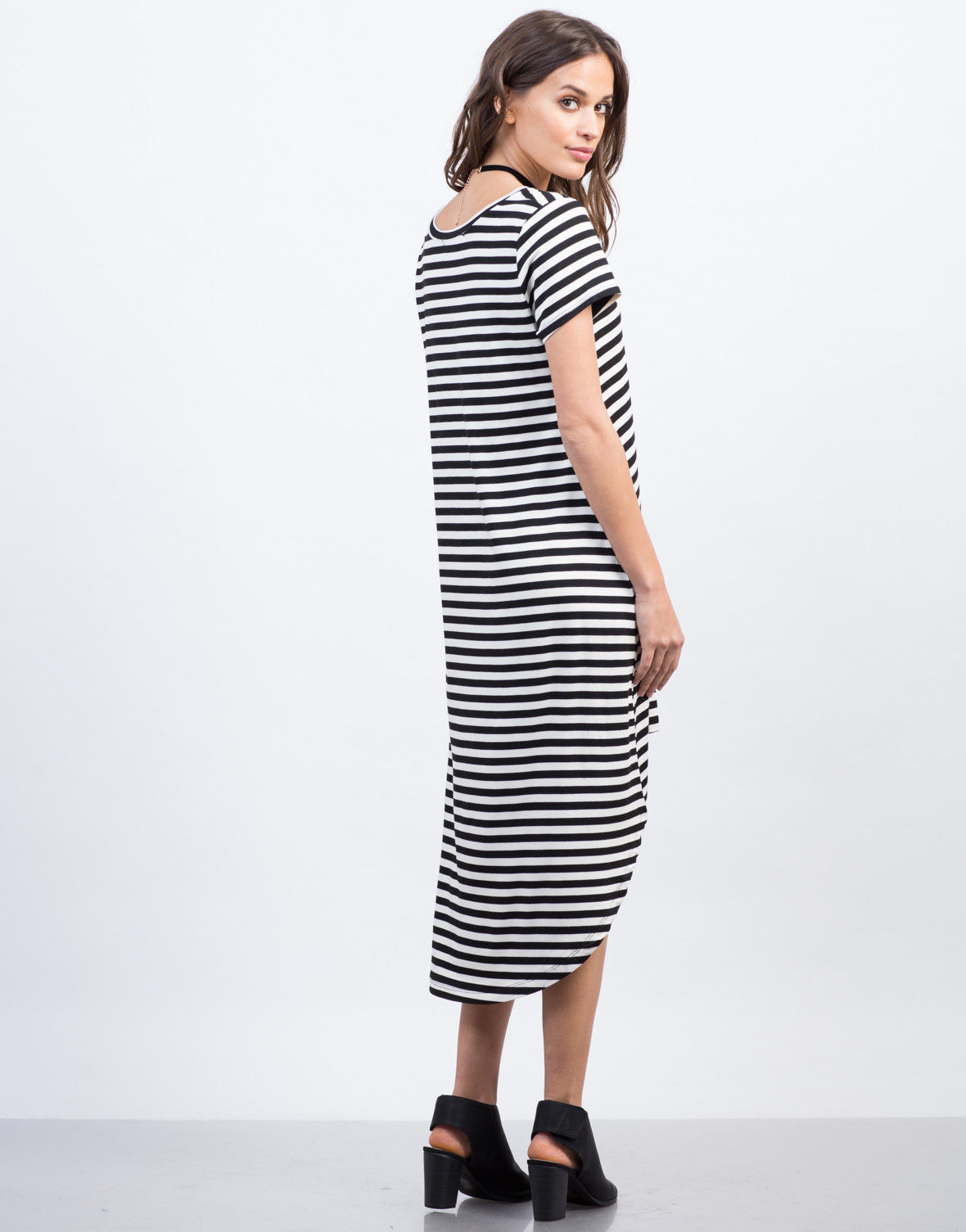 Back View of Hi-Low Striped Tee Dress