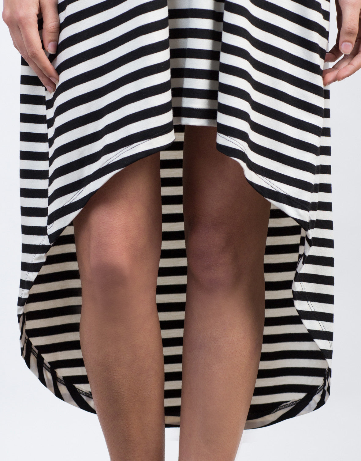 Detail of Hi-Low Striped Tee Dress
