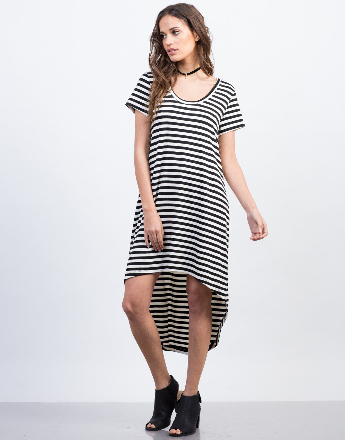 Front View of Hi-Low Striped Tee Dress
