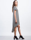 Side View of Hi-Low Striped Tee Dress
