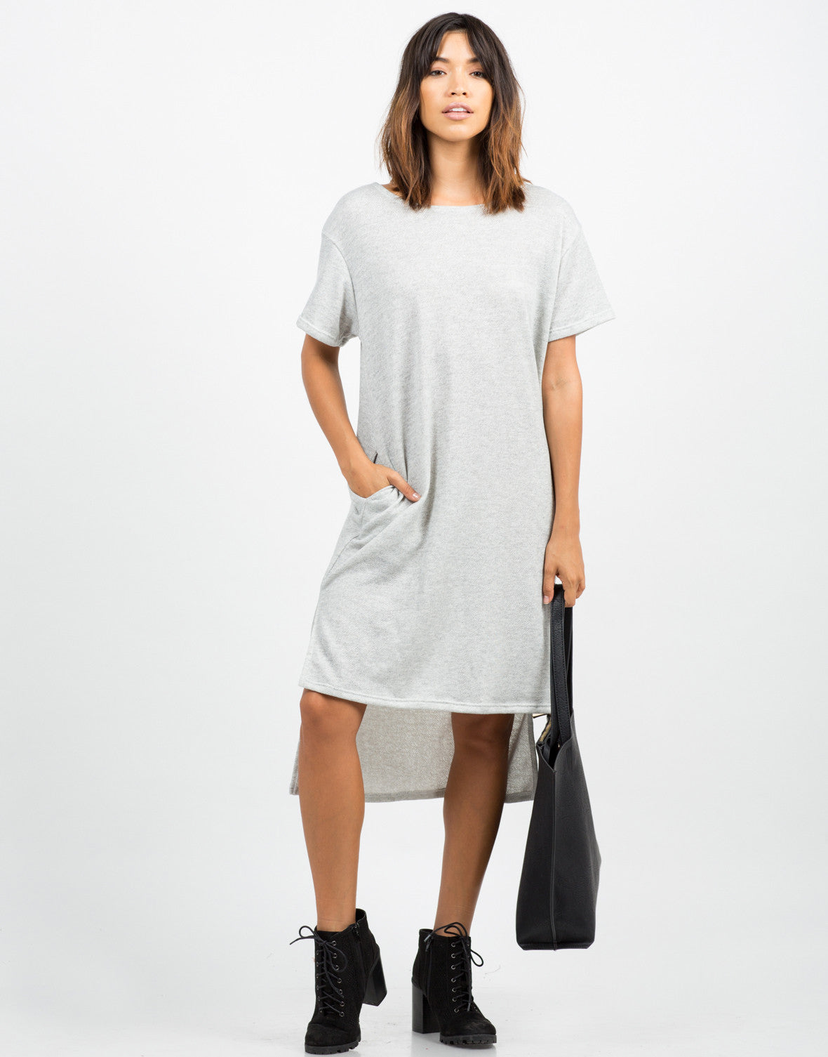 Front View of Hi-Low Sweater Dress