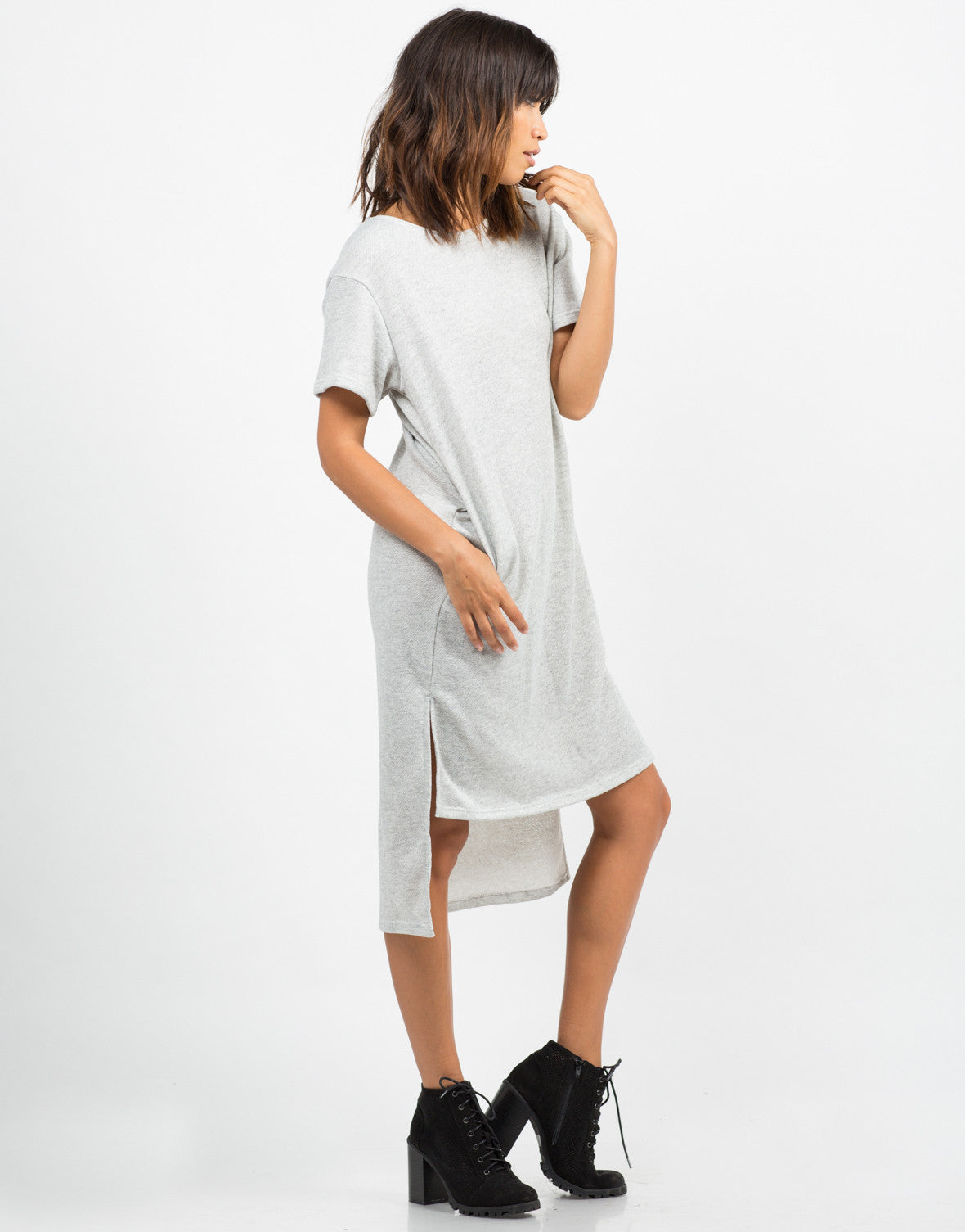 Side View of Hi-Low Sweater Dress