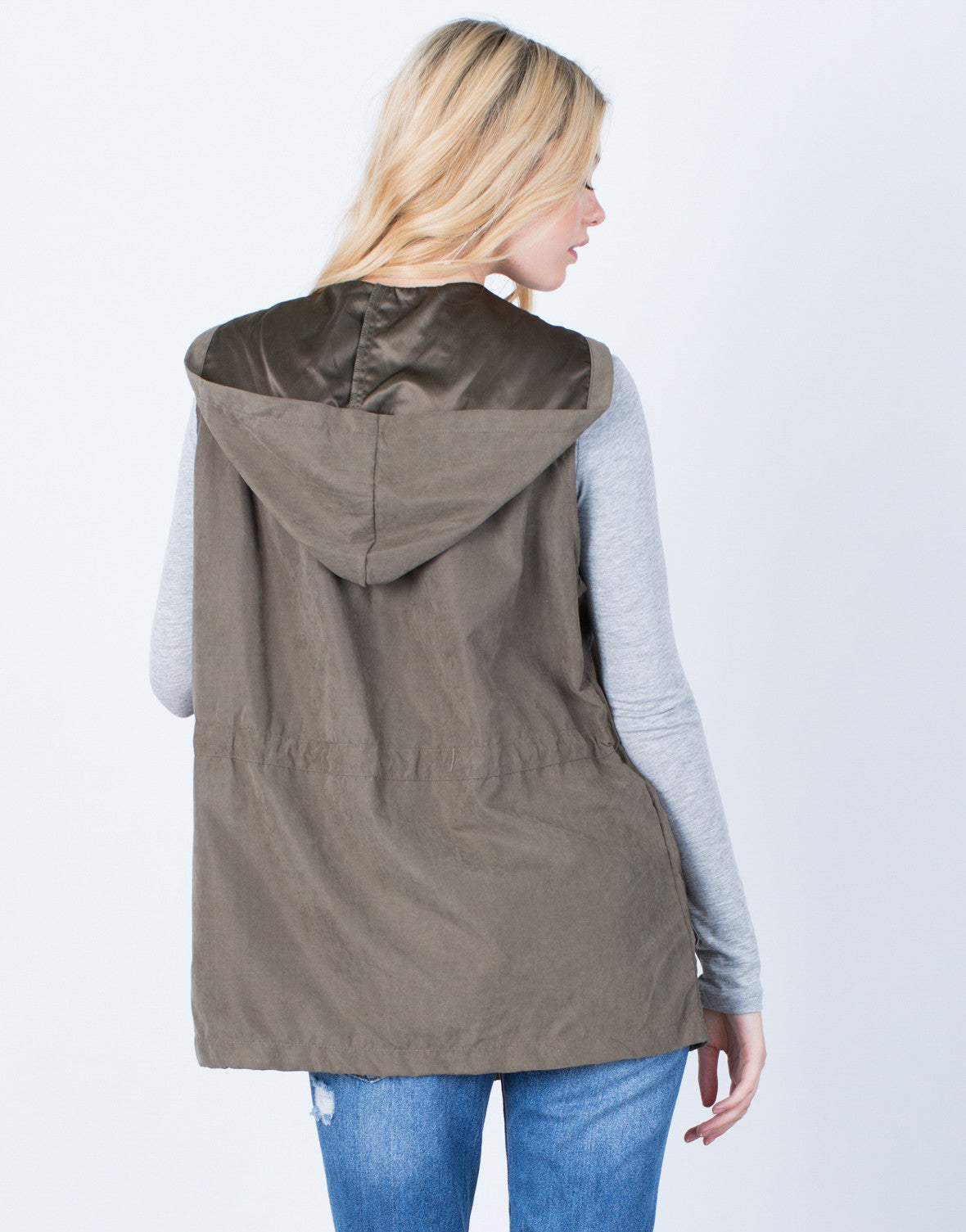 Back View of Hit the Town Hooded Vest