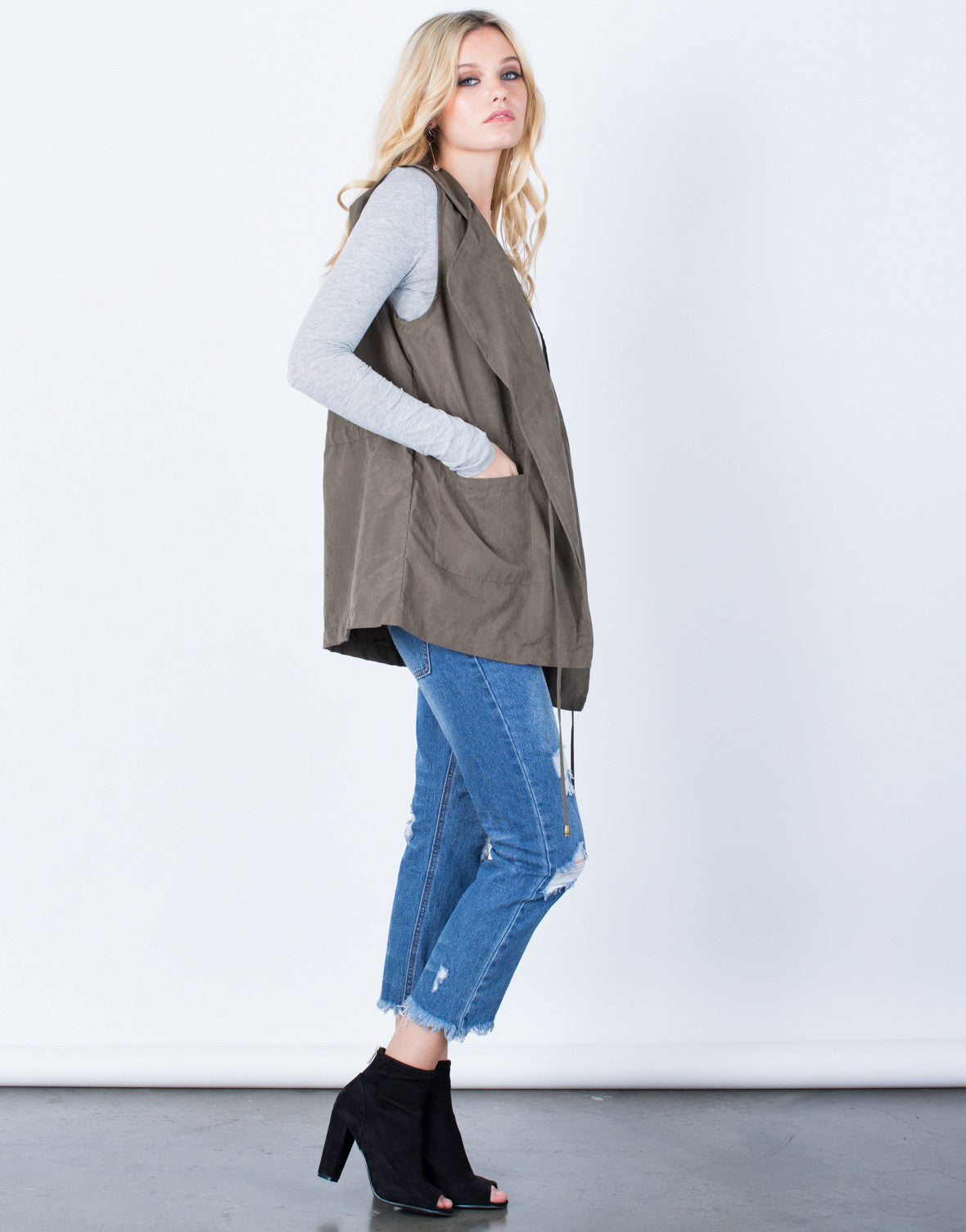 Side View of Hit the Town Hooded Vest