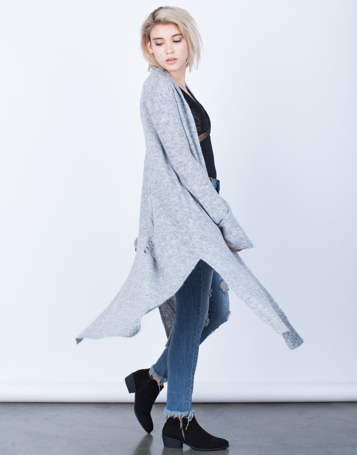 Side View of Holey Cut Out Cardigan