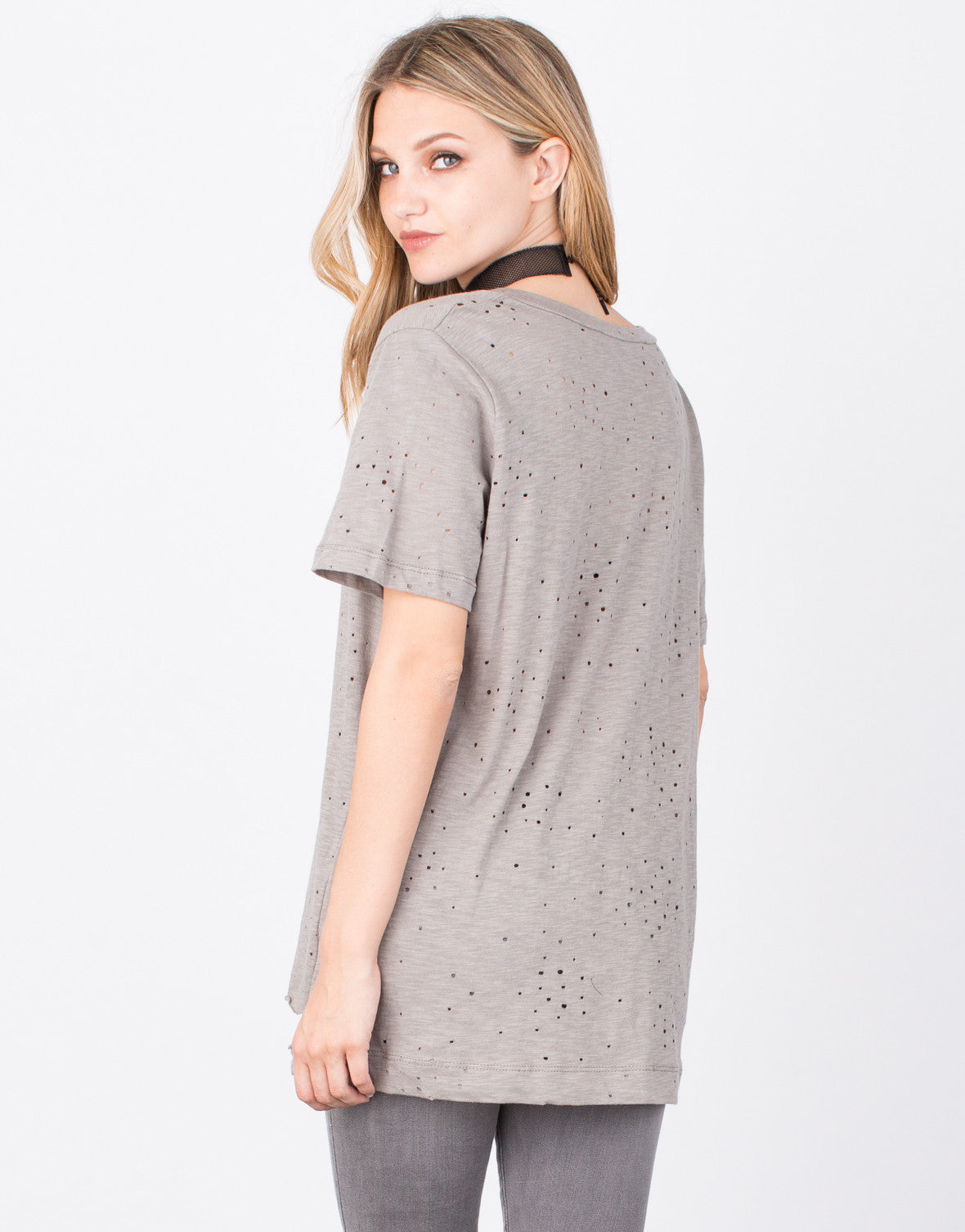 Back View of Holey Deep V Tee
