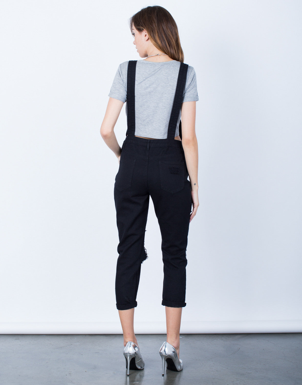 Back View of Holey Denim Overalls