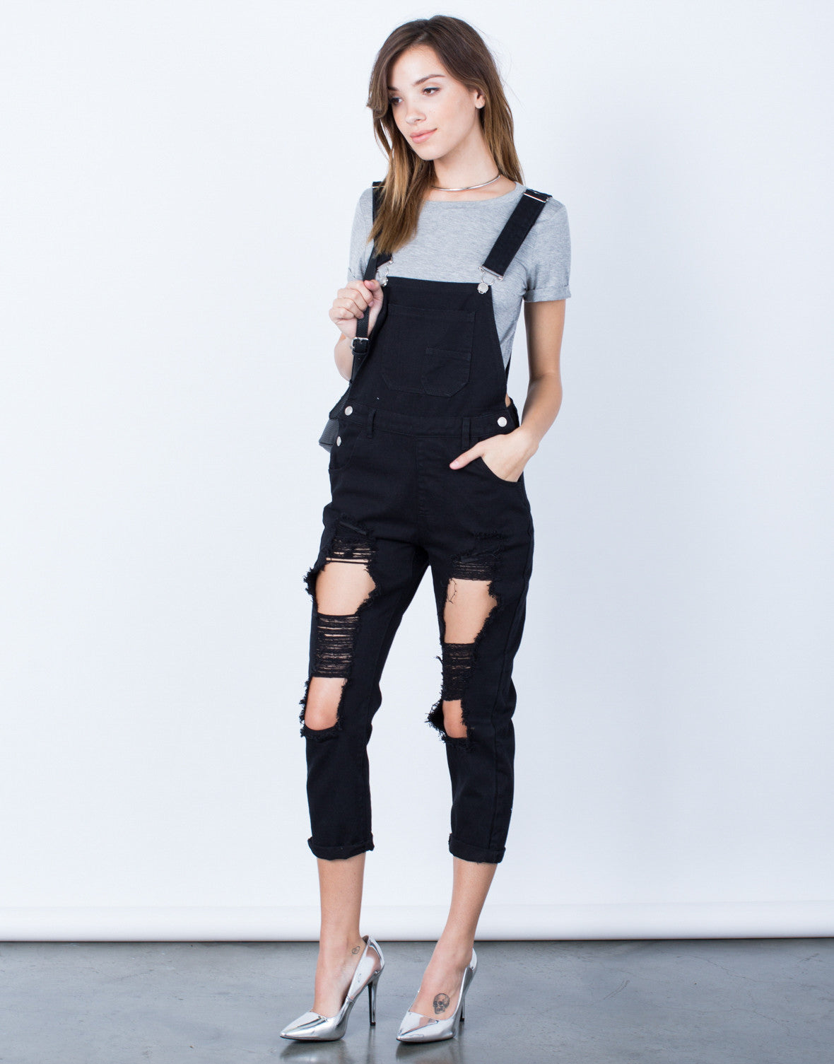 Front View of Holey Denim Overalls