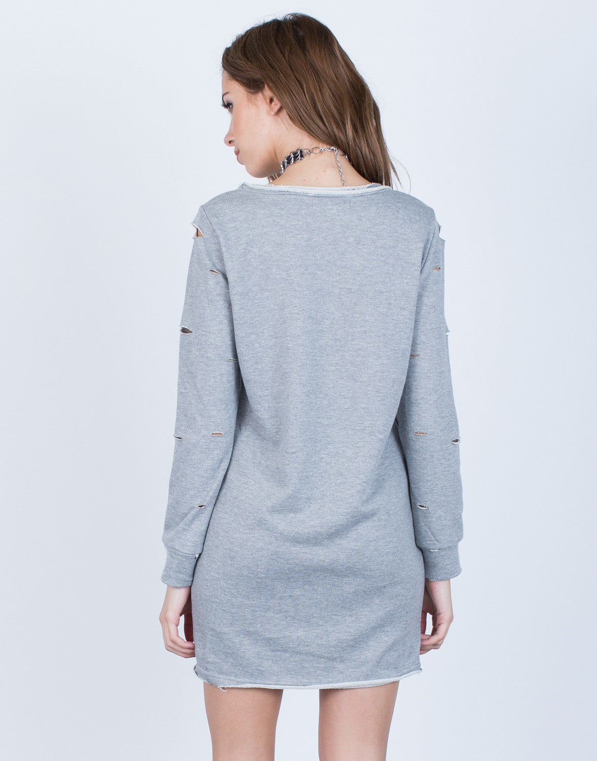 Back View of Holey Sweater Dress