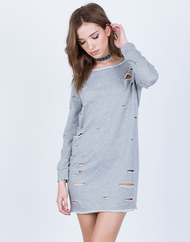 Front View of Holey Sweater Dress