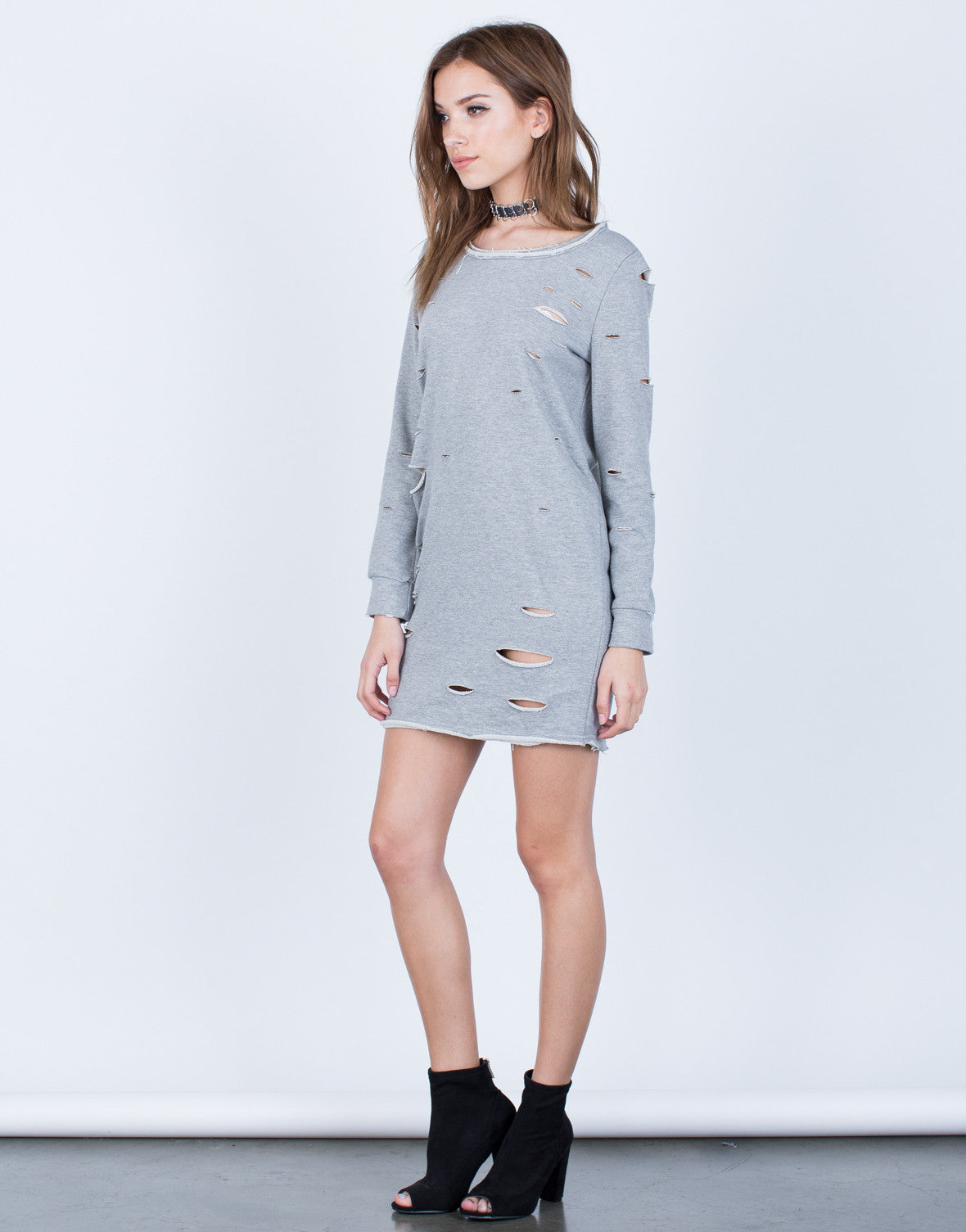 Side View of Holey Sweater Dress