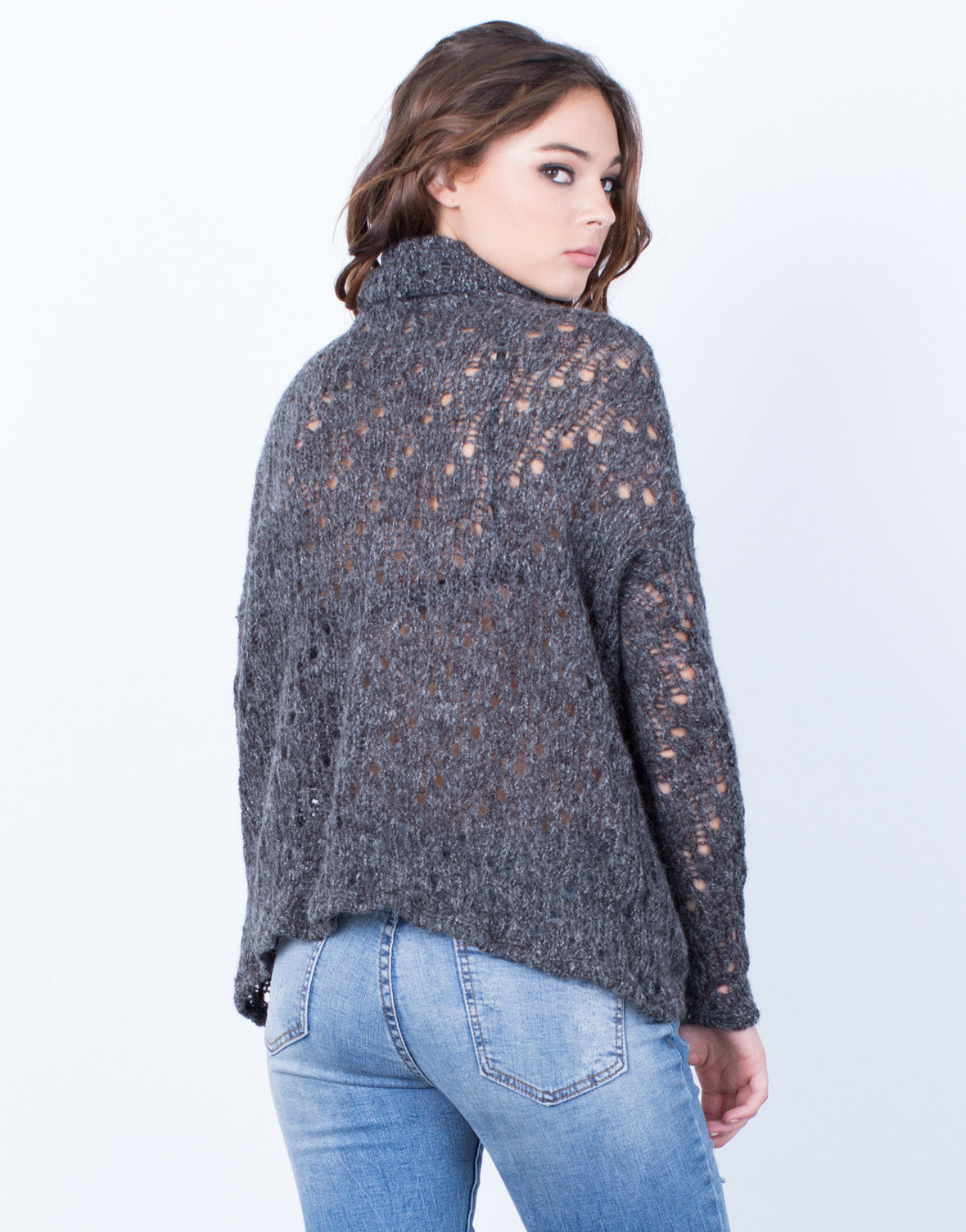 Back View of Holey Wool Sweater