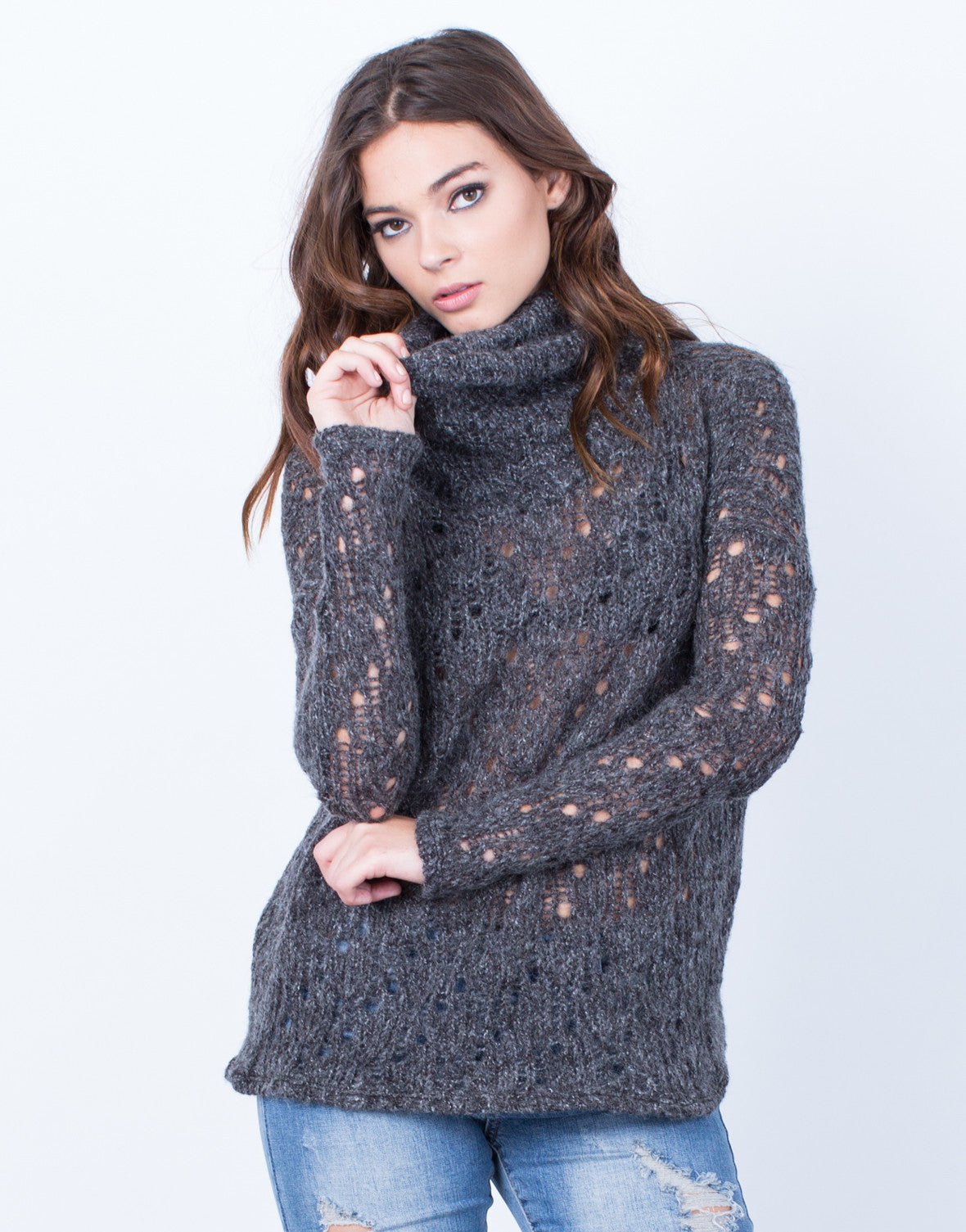 Front View of Holey Wool Sweater