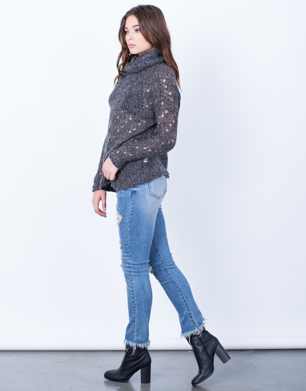 Side View of Holey Wool Sweater