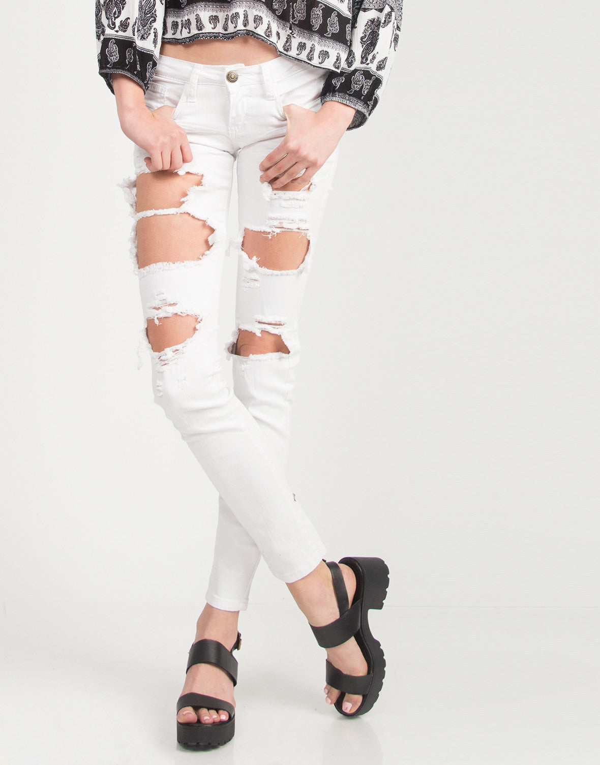 Holey Denim Skinny Jeans