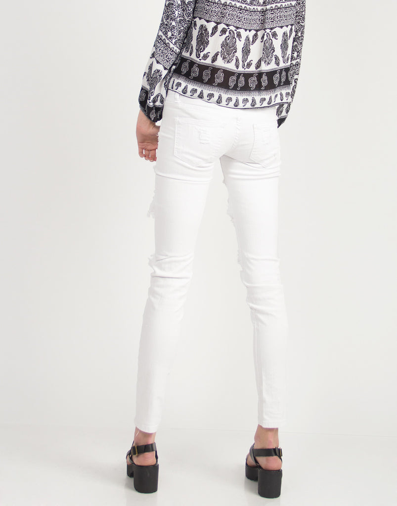 Holey Denim Skinny Jeans - 2020AVE
