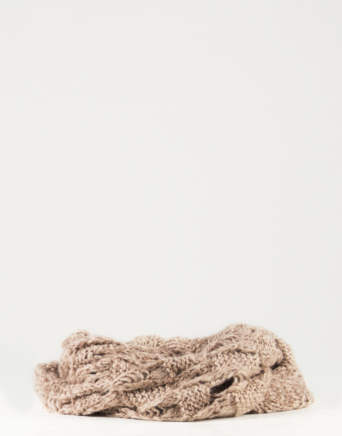 Holey Knit Infinity Scarf - Taupe