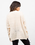 Back View of Holey Sleeves Knitted Cardigan